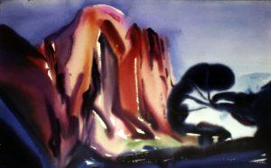 "Dusk Canyon Watercolor 40"" X 26"""